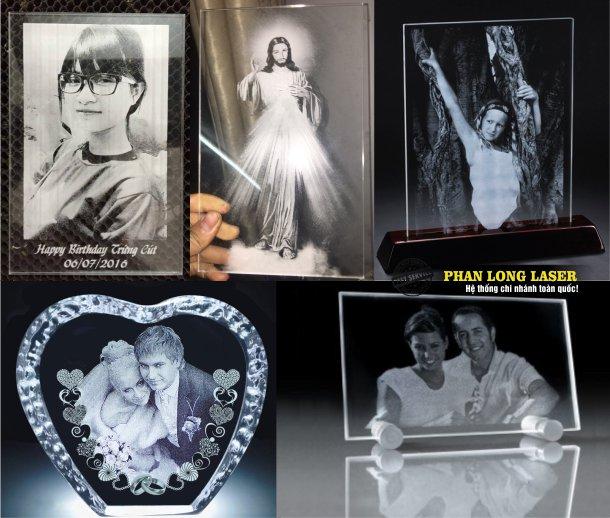 Khắc hình ảnh chân dung, khắc ảnh cưới lên Mica, Acrylic, thủy tinh, pha lê theo yêu cầu