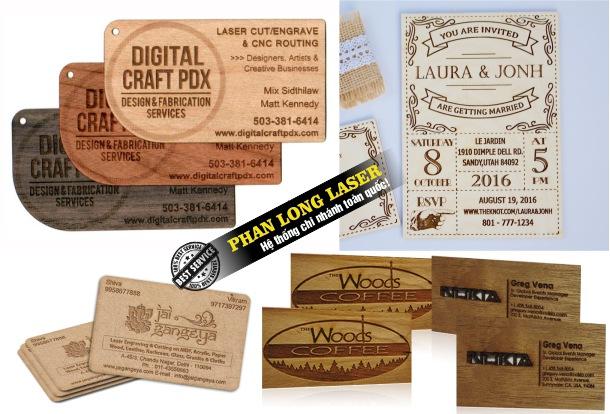 Sử dụng máy khắc laser để khắc tạo hình trên danh thiếp gỗ, name card gỗ giá rẻ