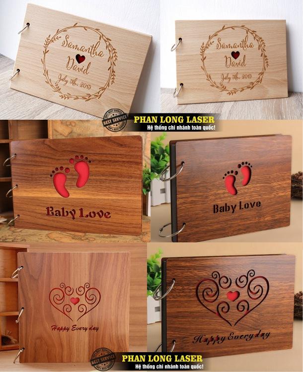 Xưởng cắt khắc laser theo yêu cầu lên các sản phẩm album gỗ, bìa gỗ, sách gỗ giá rẻ lấy ngay lấy liền