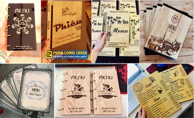 Thiết kế và làm menu thực đơn bằng gỗ và mica theo yêu cầu giá rẻ
