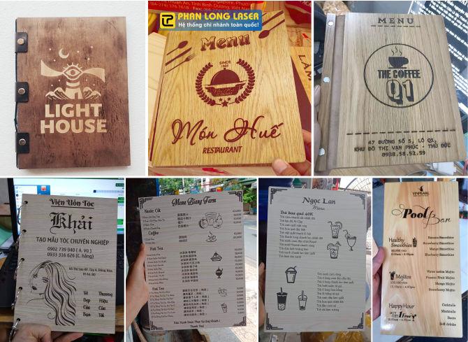 Làm menu gỗ, thực đơn gỗ trực tiếp tại Phan Long Laser Đà Nẵng