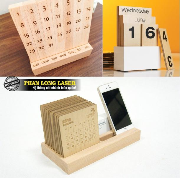 Dịch vụ nhận cắt laser, khắc laser trên lịch gỗ tạo hình sản xuất lịch gỗ để bàn, lịch gỗ treo tường