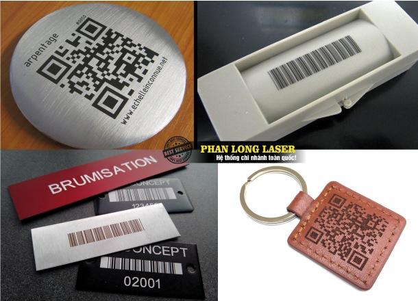 In khắc laser mã vạch mã code QR lên kim loại inox đồng nhôm sắt thép, gỗ, nhựa mica, da, gốm sứ, thủy tinh, pha lê, đá quý