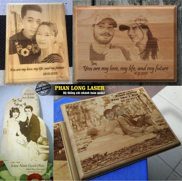 Địa chỉ khắc laser ảnh cưới bằng gỗ, bằng nhựa, bằng mica giá rẻ theo yêu cầu lấy liền lấy ngay