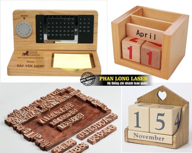 Địa chỉ Khắc Gia công lên lịch gỗ và sản xuất lịch gỗ để bàn giá rẻ
