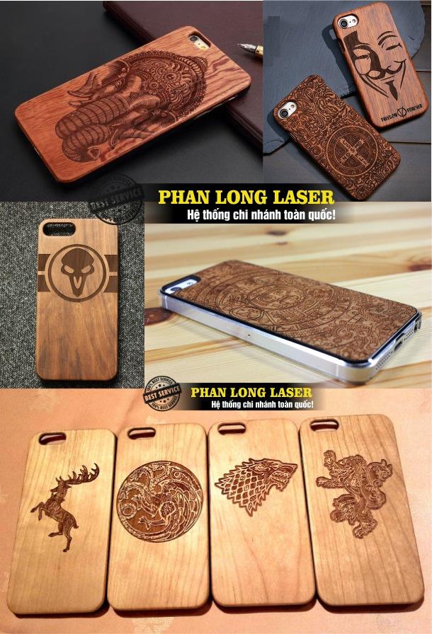 Địa chỉ khắc chữ khắc tên khắc logo hoa văn, khắc hình ảnh chân dung lên ốp lưng bằng gỗ của Iphone