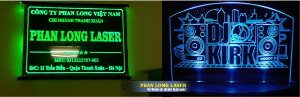 Địa chỉ Khắc bảng hiệu mica theo yêu cầu bằng laser tại Sài Gòn