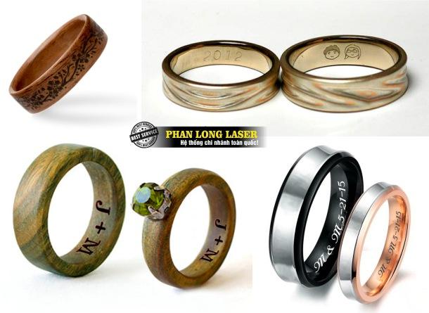 Địa chỉ nhận khắc logo hoa văn, khắc chữ khắc tên theo yêu cầu lên nhẫn gỗ và nhẫn đá