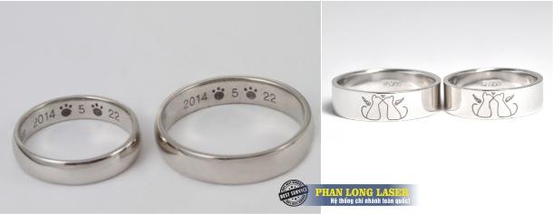 Dịch vụ khắc logo, khắc họa tiết lên nhẫn inox bằng máy laser