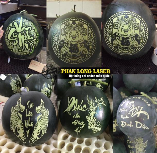 Khắc hình ảnh, khắc chân dung, khắc logo hoa văn, khắc thư pháp lên dưa hấu sử dụng máy khắc laser