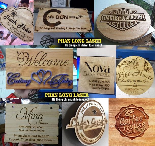 Địa chỉ khắc laser theo yêu cầu lên biển hiệu, biển bảng quảng cáo bằng gỗ giá rẻ