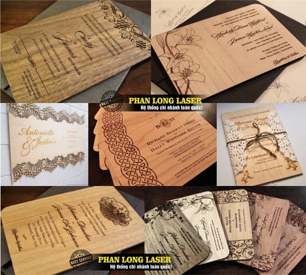 Cơ sở nhận sản xuất thiệp cưới gỗ và khắc laser theo yêu cầu lên các sản phẩm thiệp cưới gỗ này