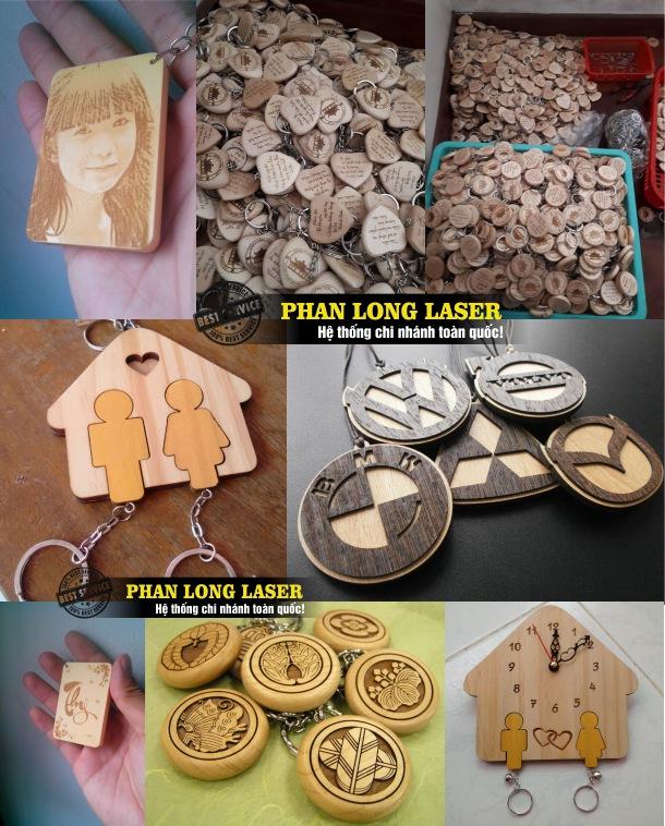 Cơ sở nhận khắc laser trên móc khóa gỗ lấy ngay lấy liền giá rẻ