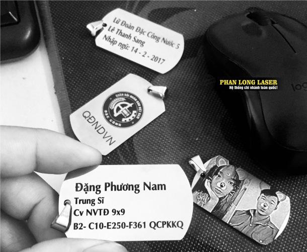 Duy nhất tại Phan Long Laser nhận làm thẻ bài thẻ tên quân đội dogtag có thể lấy liền