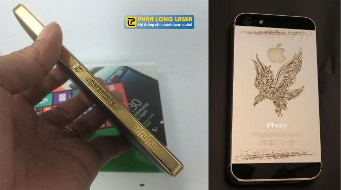 Khắc laser lên viền điện thoại mạ vàng, khắc laser hình ảnh nghệ thuật lên mặt sau của Iphone