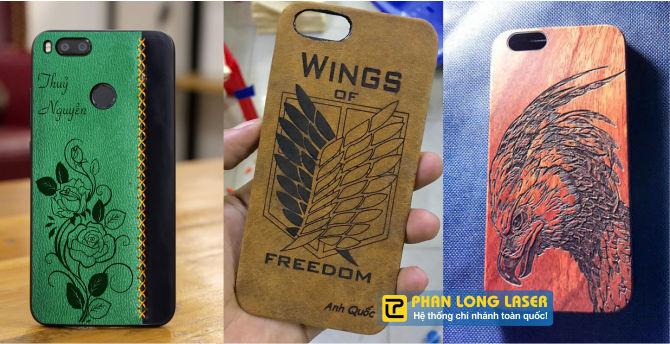 Hình ảnh khắc lên ốp lưng điện thoại với nhiều chất liệu như gỗ, nhựa, da theo yêu cầu
