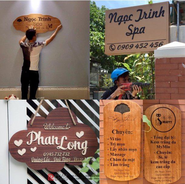 Phan Long Laser làm biển gỗ, bảng gỗ tên shop cho Ngọc Trinh Spa tại Đà Nẵng