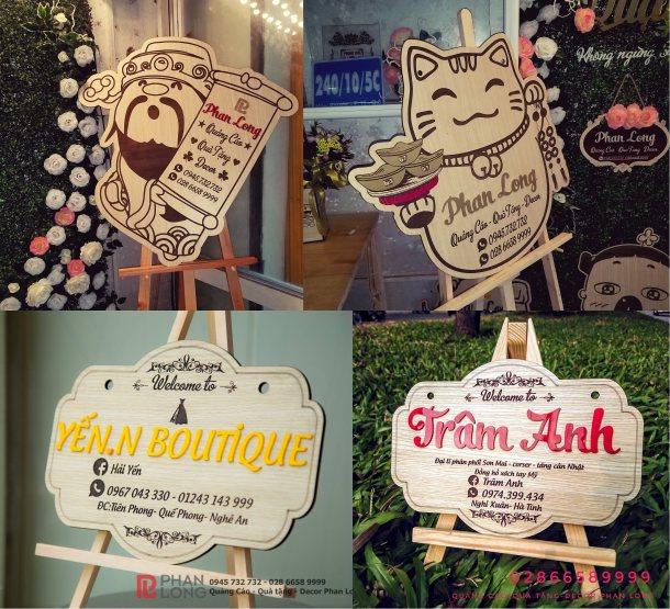 Làm biển bảng quảng cáo bằng gỗ cỡ nhỏ cho khách hàng tại Vinh Nghệ An và Tỉnh Hà Tĩnh