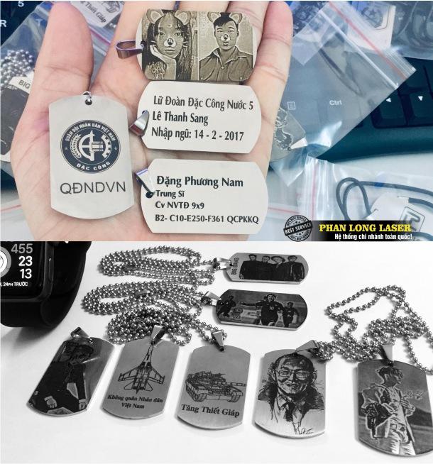 Làm thẻ bài quân nhân, thẻ tên quân đội lính Mỹ bằng inox 304, inox 316 khắc theo yêu cầu