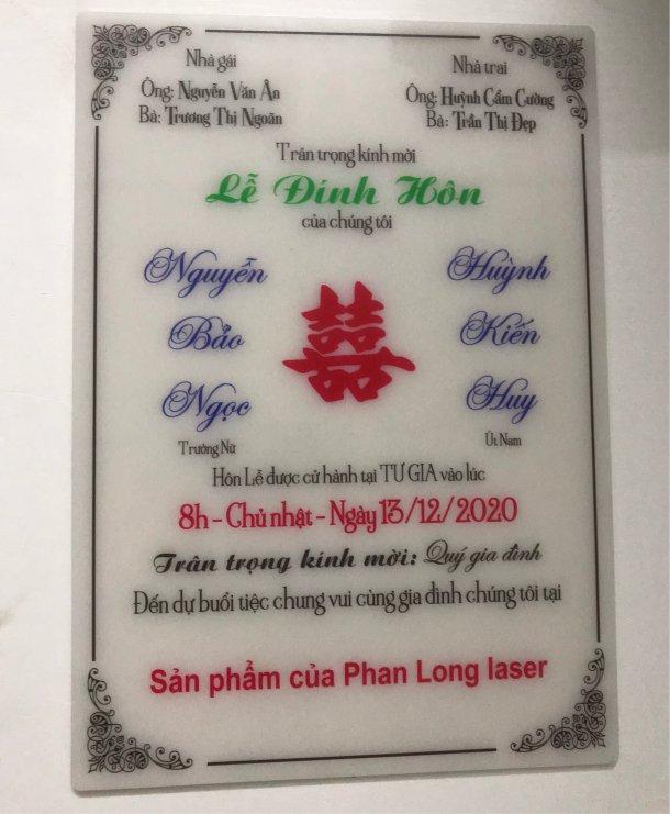 Địa chỉ nhận làm thiệp cưới thiệp mừng bằng nhựa mica acrylic trong suốt tại Tphcm Sài Gòn Hà Nội
