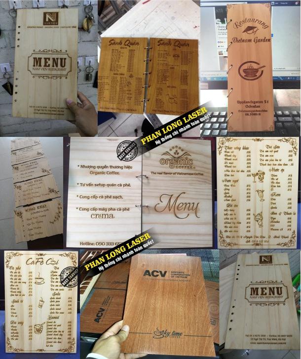 Địa chỉ xưởng gia công và thiết kế menu bằng gỗ nhựa mica theo yêu cầu