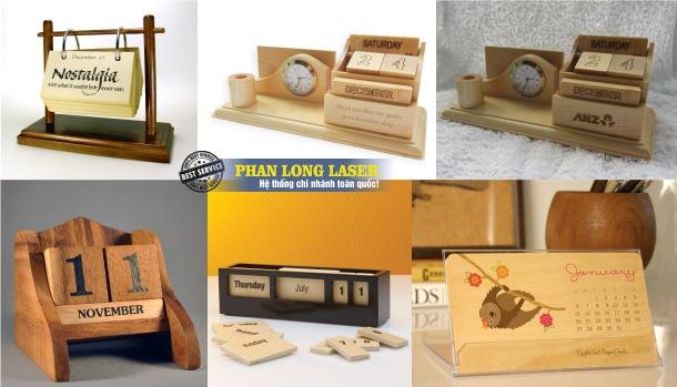 Làm lịch gỗ và khắc laser lên lịch gỗ để bàn theo yêu cầu