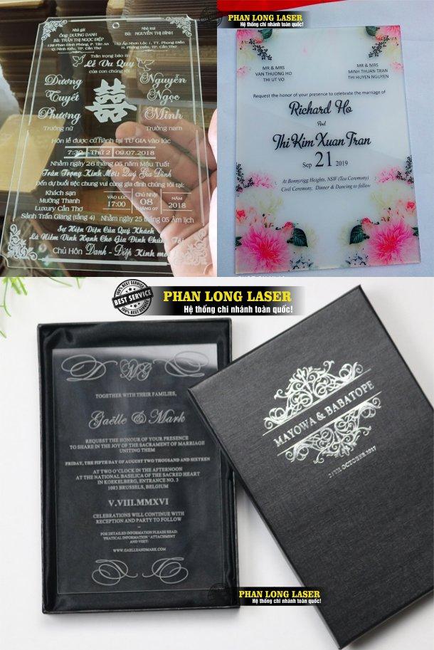Làm thiệp cưới mica acrylic trong suốt theo yêu cầu tại Tphcm Sài Gòn, Hà Nội, Đà Nẵng, Cần Thơ