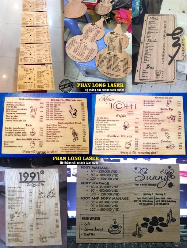 Địa chỉ thiết kế menu bằng gỗ và mica độc đáo sáng tạo tại Đà Nẵng