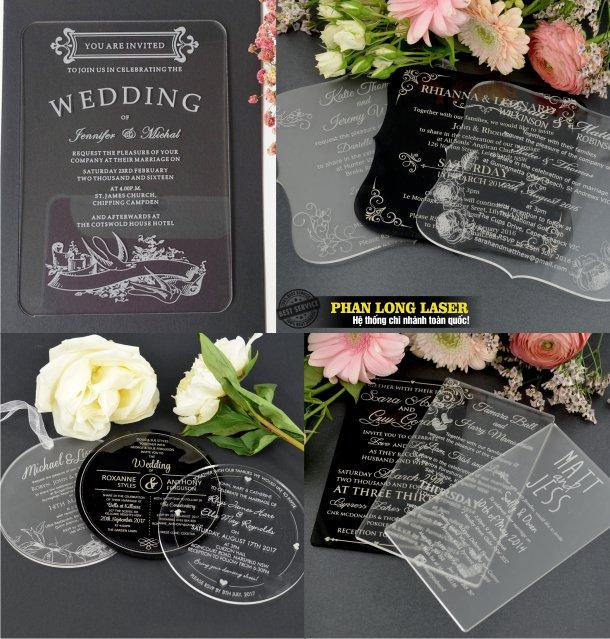 Xưởng nhận thiết kế làm thiệp nhựa trong suốt, thiệp cưới mica acrylic trong suốt theo yêu cầu lấy ngay lấy liền giá rẻ