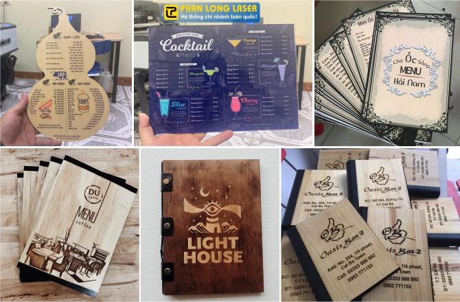 Sản xuất menu gỗ, menu mica acrylic, menu nhựa tại xưởng Phan Long Laser