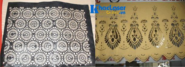 Nhận cắt viền vải hoa văn trên vải bằng máy laser