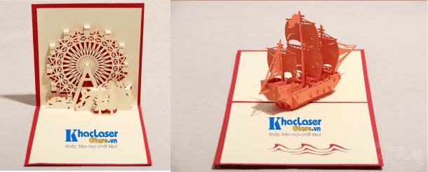 Thiệp chúc mừng được tạo hình thành cối xay gió và con thuyền trên giấy