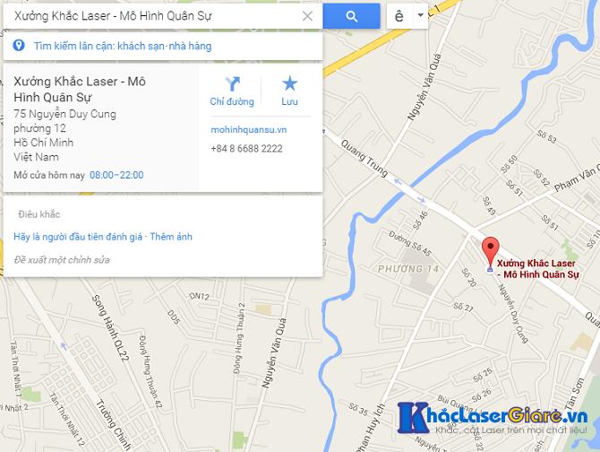Địa chỉ hướng dẫn đường đi đến xưởng khắc laser Sài Gòn: 75 Nguyễn Duy Cung, Quận Gò Vấp