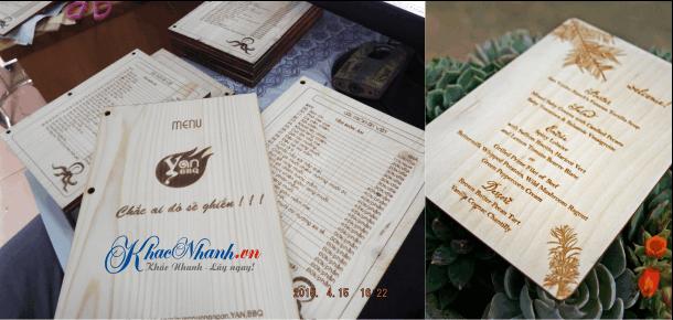 In menu gỗ bằng laser nhà hàng quán bar tại Quận 1 TpHCM Sài Gòn
