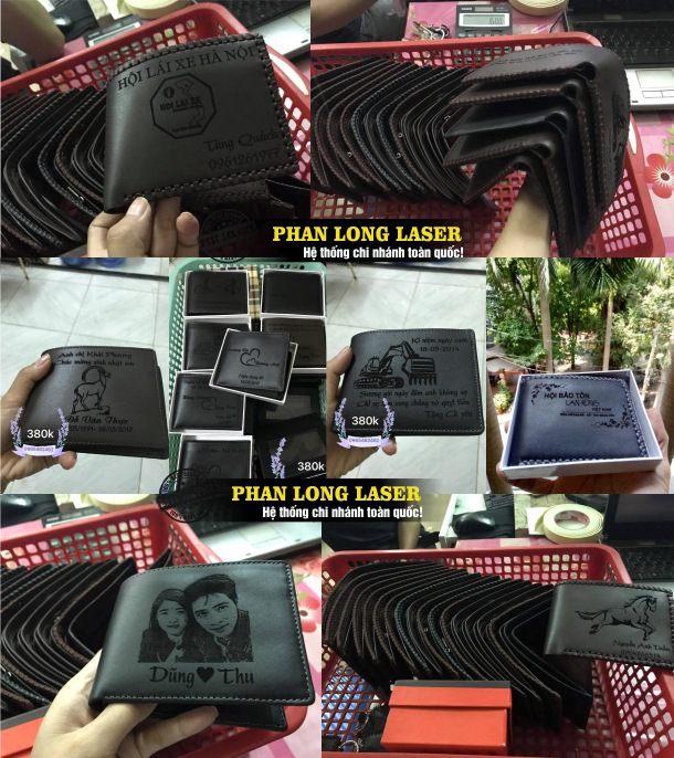 Địa chỉ khắc logo hình ảnh chân dung lên ví da bóp da bằng máy laser cực rẻ