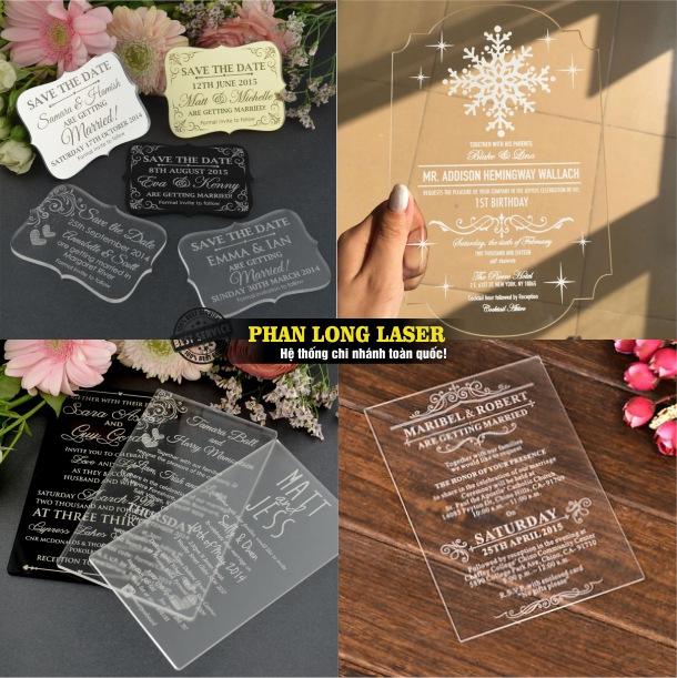 Địa chỉ khắc laser theo yêu cầu lên thiệp cưới mica làm nhanh lấy liền giá rẻ