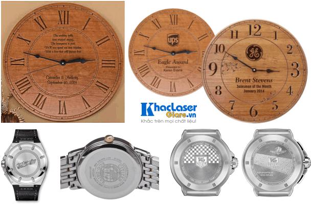 Khắc chữ khắc tên, khắc logo, khắc hình ảnh lên đồng hồ treo tường, đồng hồ đeo tay