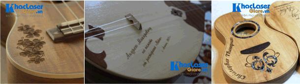 Khắc chữ lên đàn guitar cho khách hàng tại Thành Phố HCM