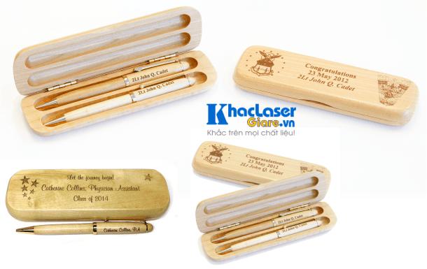 Khắc laser giá rẻ nhất trên bút viết bằng gỗ tại Sài Gòn