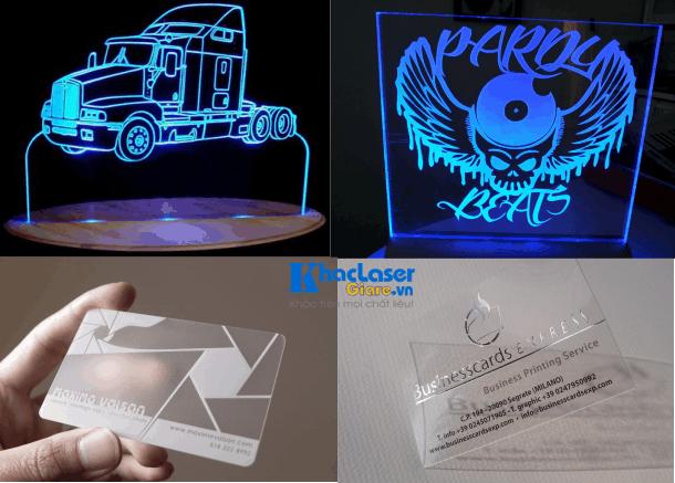 Khắc laser lên Mica làm biển quảng cáo và làm danh thiếp mica tại TpHCM
