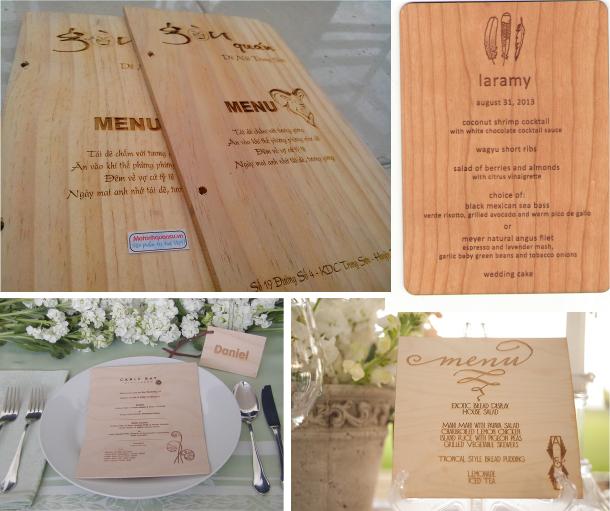 Khắc laser lên menu gỗ tại Đà Nẵng, Cần Thơ, Hà Nội