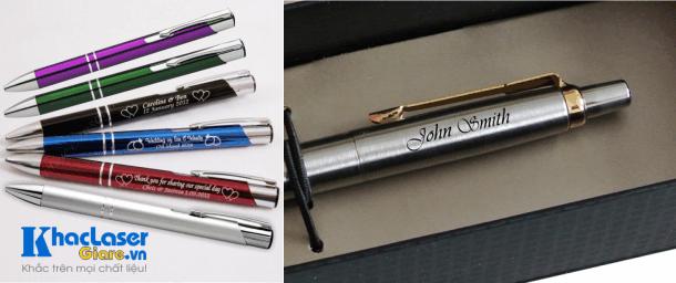 Khắc laser trên cây viết kim loại các hình ảnh logo của công ty